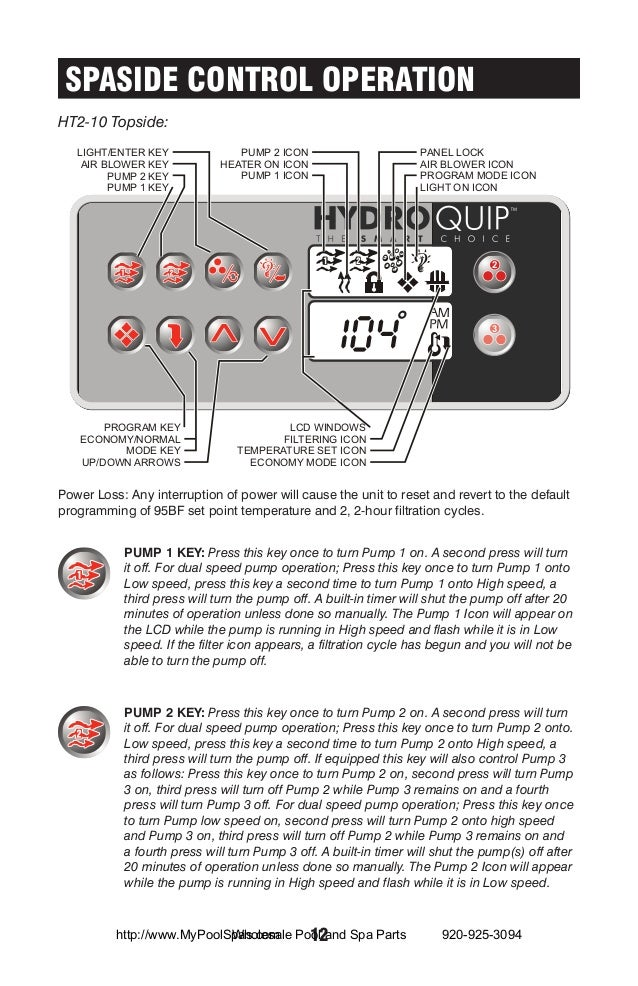 economy mode arctic spa control panel instructions